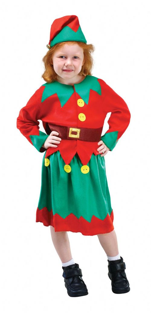 Childs Santas Helper Costume Father Christmas Fancy Dress Outfit